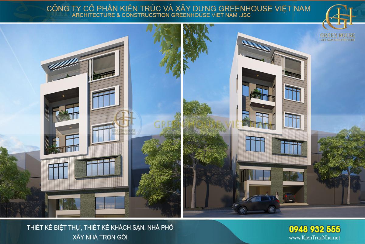 thiết kế nhà phố hiện đại 6 tầng hà nội