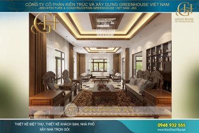 thiết kế phòng khách Á Đông đẹp