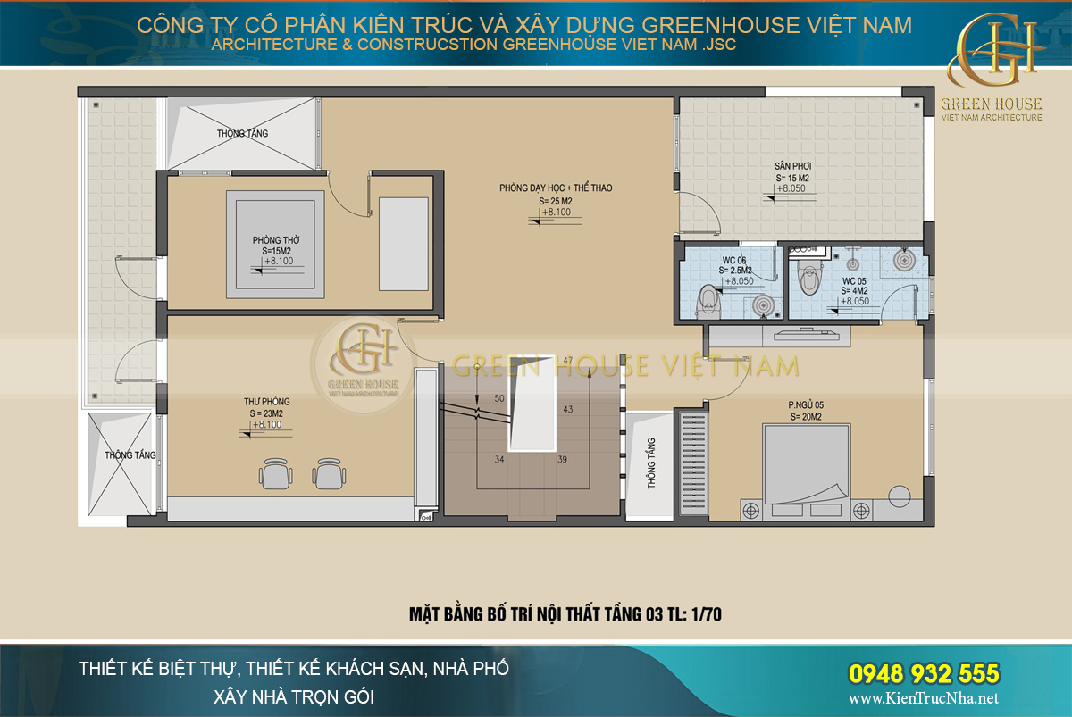 Bố trí công năng sử dụng của tầng 1 biệt thự hiện đại tại Bắc Giang