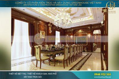 thiết kế phòng ăn biệt thự tân cổ điển