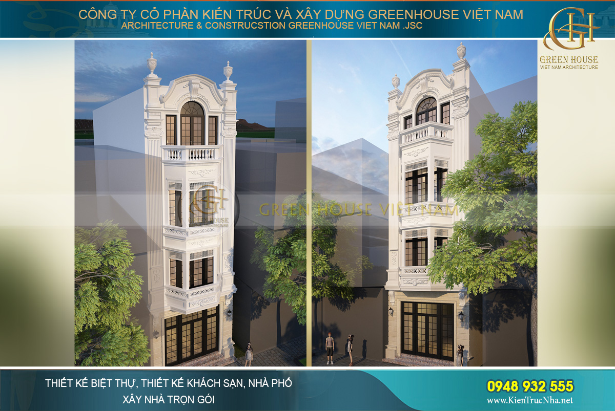 thiết kế nhà ống tân cổ điển 4 tầng