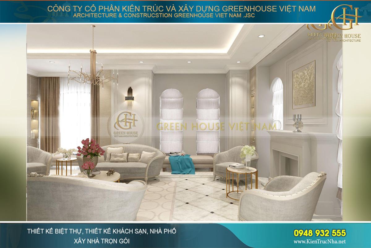 thiết kế nội thất biệt thự tân cổ điển hải phòng