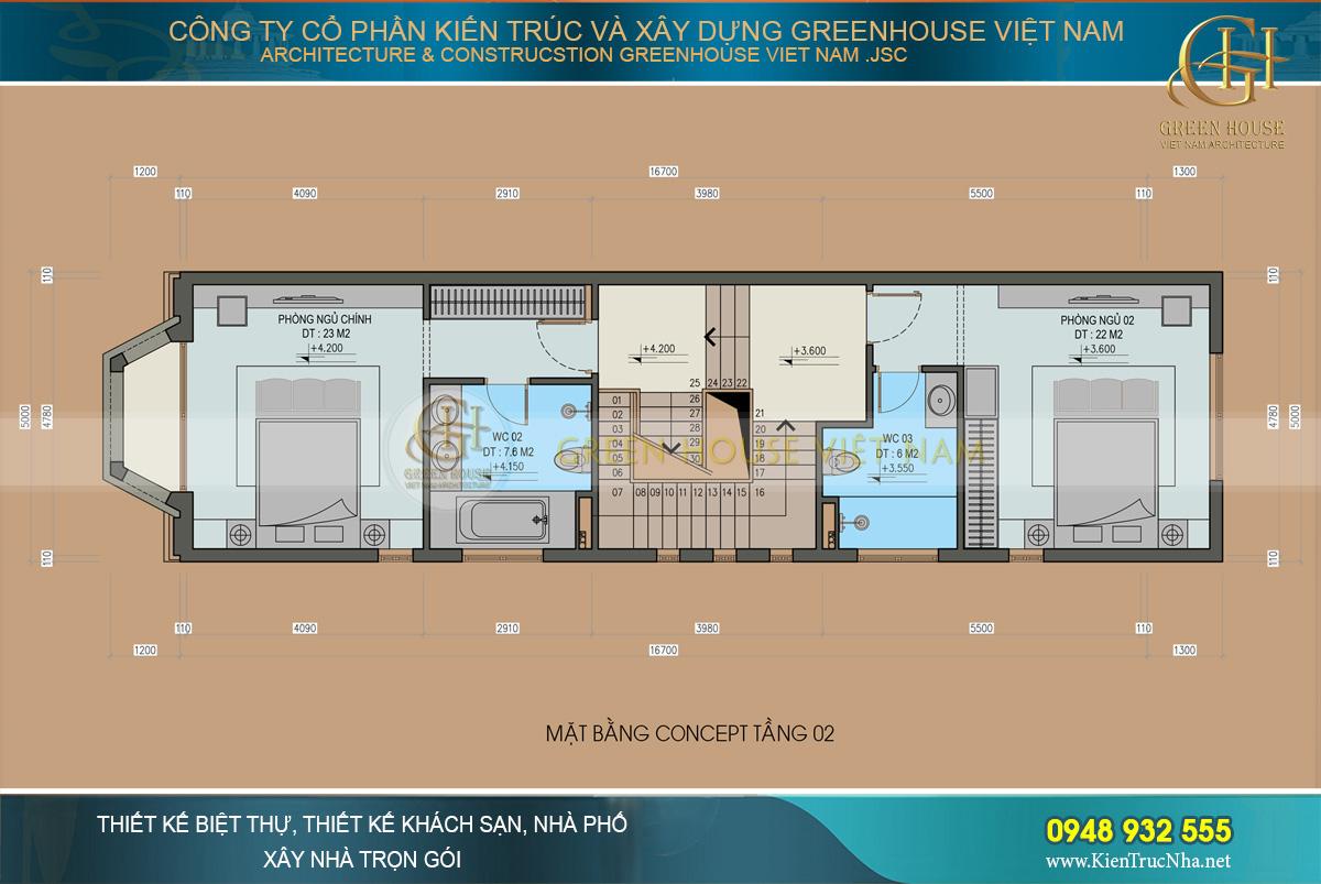 thiết kế nội thất nhà phố tân cổ điển 4 tầng