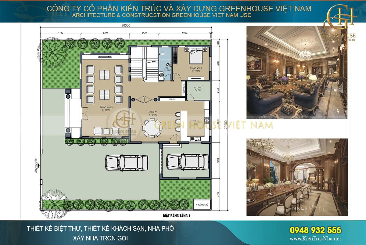 thiết kế biệt thự tân cổ điển 3 tầng Bắc Ninh
