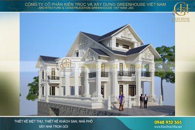 thiết kế biệt thự tân cổ điển mái Thái Bắc Ninh