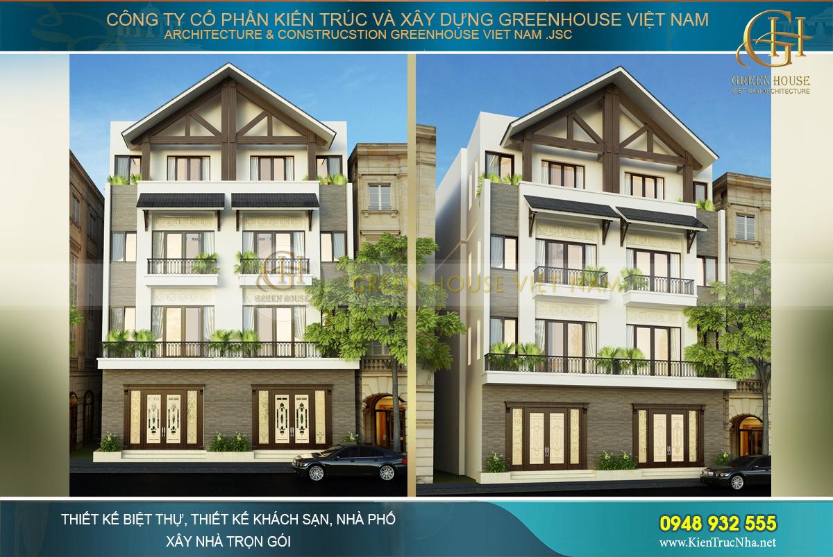 thiết kế nhà phố song lập 4 tầng tại Hải Phòng