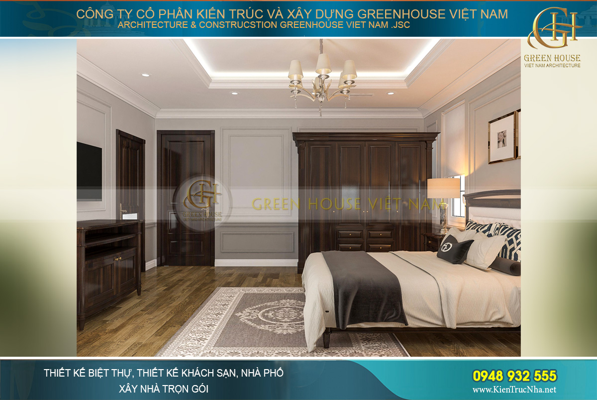 thiết kế nội thất biệt thự tân cổ điển 4 tầng