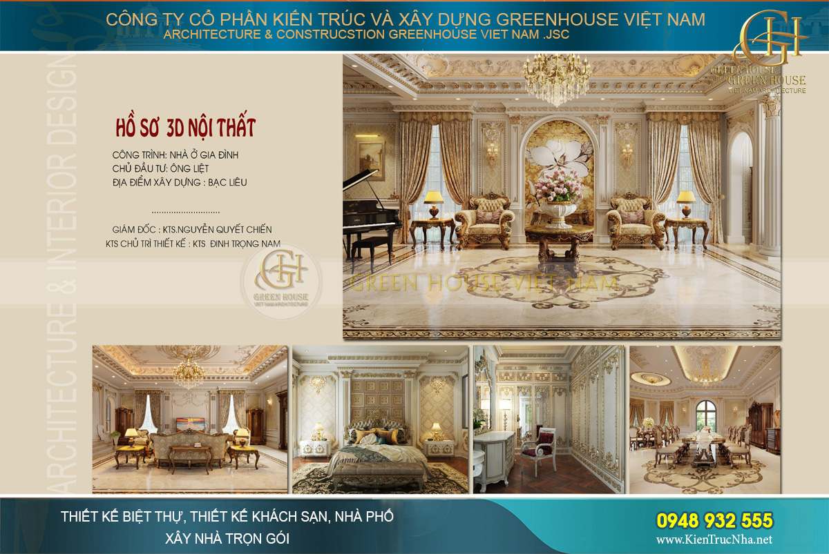 thiết kế nội thất dinh thự tân cổ điển 2 tầng