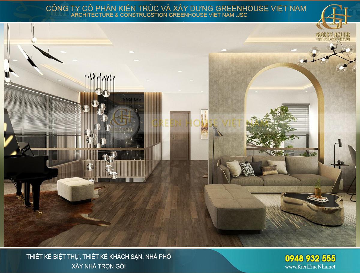 thiết kế nội thất biệt thự hiện đại 2 tầng