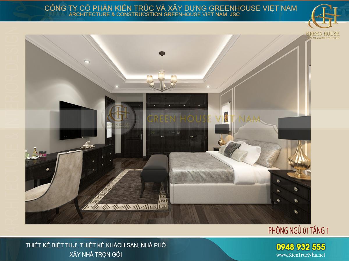 Không gian phòng ngủ dược bài trí nội thất đơn giản, kiểu dáng thiết kế sang trọng