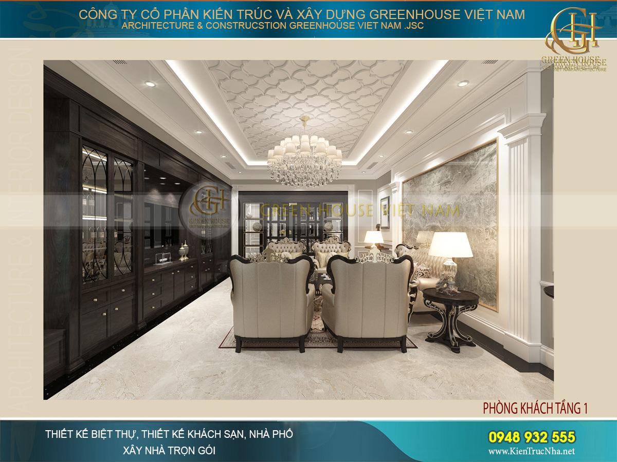 Thiết kế phòng khách gọn gàng, đường nét kiểu dáng kiến trúc vật dụng nội thất được lựa chọn đầy tỉ mỉ và tinh tế