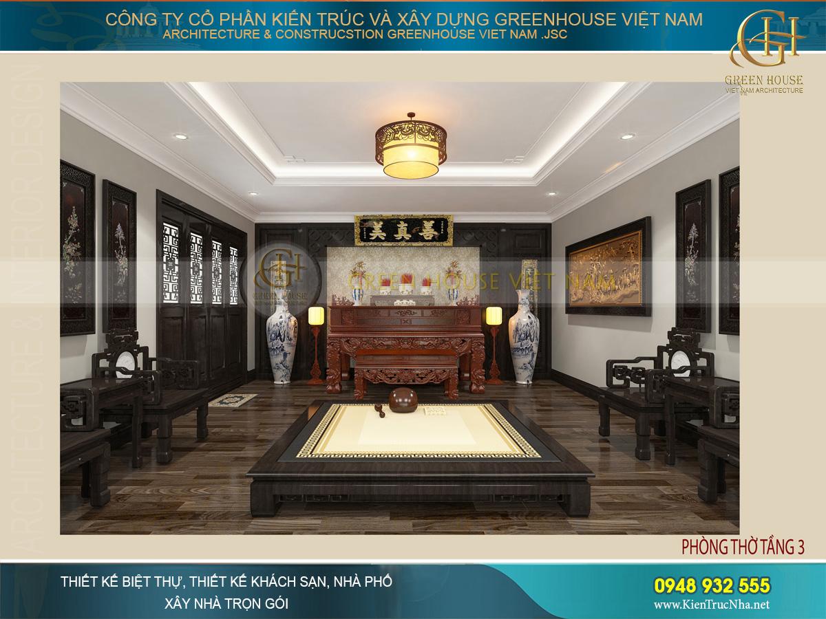 Không gian phòng thờ mang đặc trưng nét văn hóa truyền thống Việt Nam qua những họa tiết chạm trổ, điêu khắc