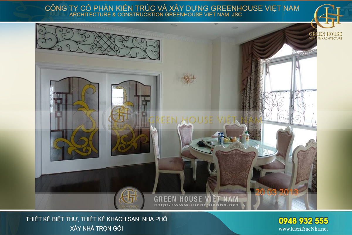 Thiết kế nội thất phòng ăn không gian mở rộng với phòng khách tân cổ điển hoàng gia cao cấp tại chung cư Royal City – Tòa R1