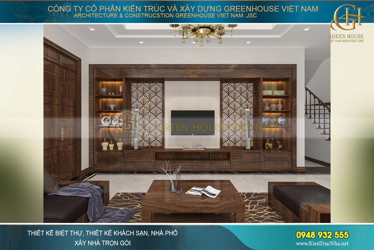 Không gian thiết kế nội thất phòng khách cao cấp trong căn biệt thự hiện đại.