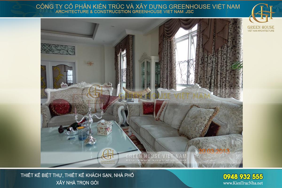 Thiết kế nội thất phòng khách tân cổ điển hoàng gia cao cấp tại chung cư Royal City – Tòa R1