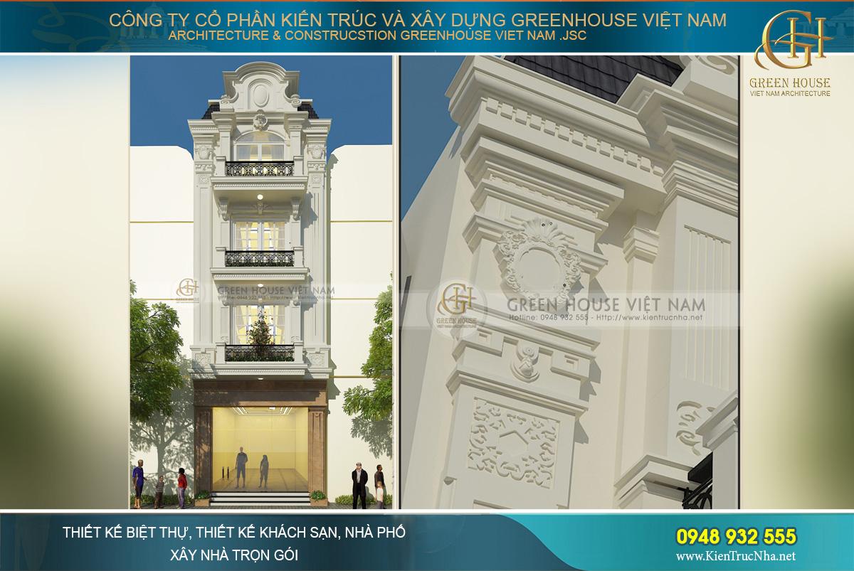 Điểm nhấn đặc biệt của hai cột trụ chính đối xứng tòa nhà.
