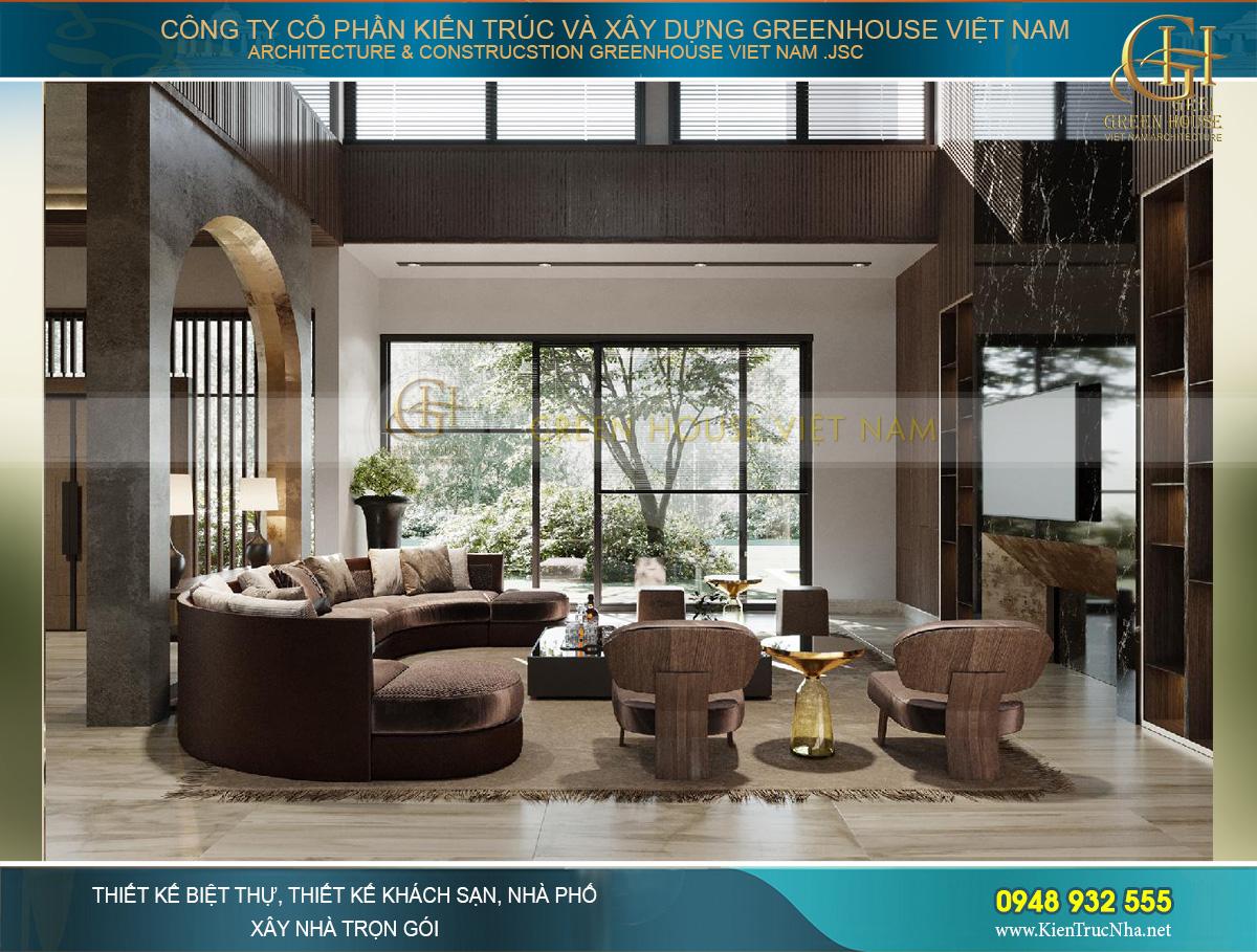 Phòng khách sử dụng chất liệu kim loại, da và gỗ cao cấp hiện đại trang trọng trong không gian rộng