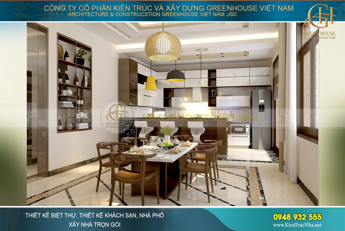 Phòng bếp kết hợp với phòng ăn của biệt thự hiện đại 3 tầng vừa hiện địa mà tiện lợi.