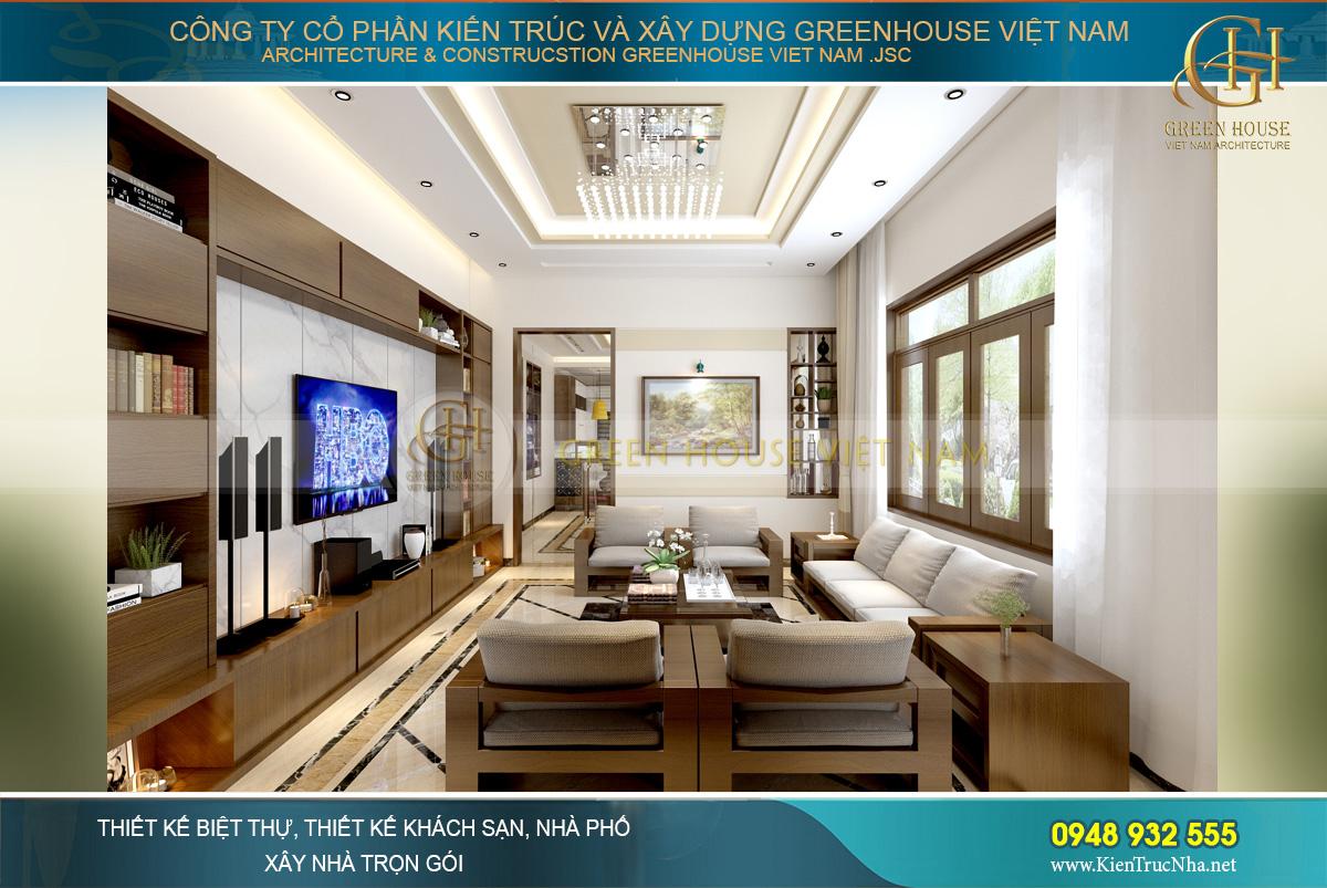 Không gian phòng khách chào đón các vị khách với vẻ đẹp tinh tế, thanh lịch và sang trọng và hiện đại.
