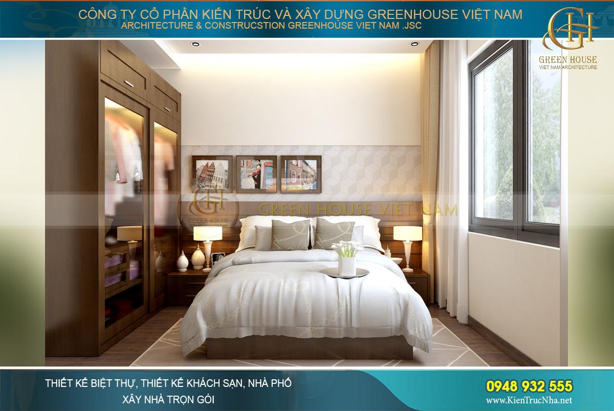 Thiết kế nội thất phòng ngủ có sự giao thoa với lối thiết kế tối giản của Nhật Bản