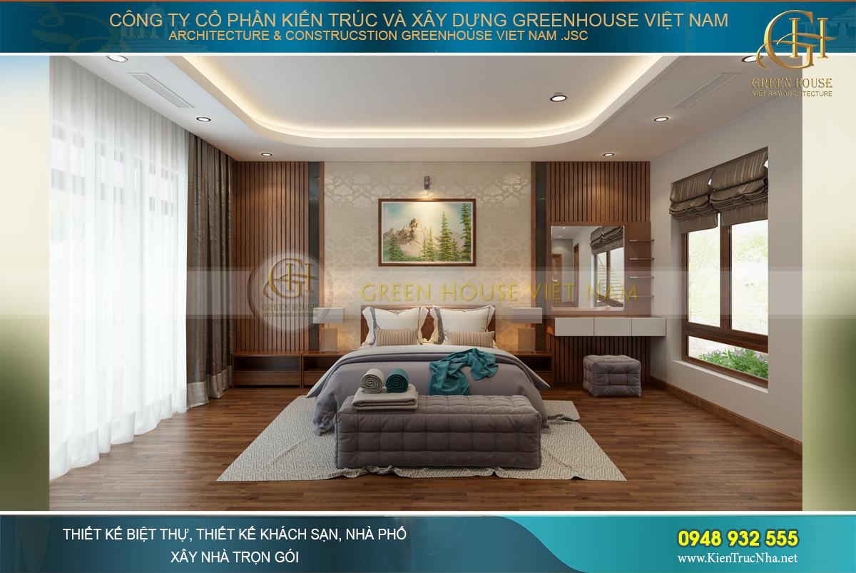 Thiết kế nội thất phòng ngủ master phong cách hiện đại pha chút nét hoài cổ