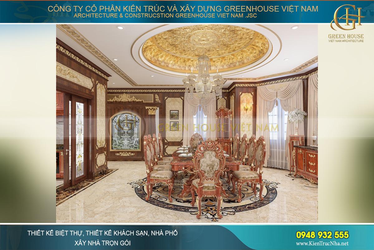 Phòng ăn của biệt thự tân cổ điển mang dáng vẻ của đại tiệc hoàng gia châu Âu