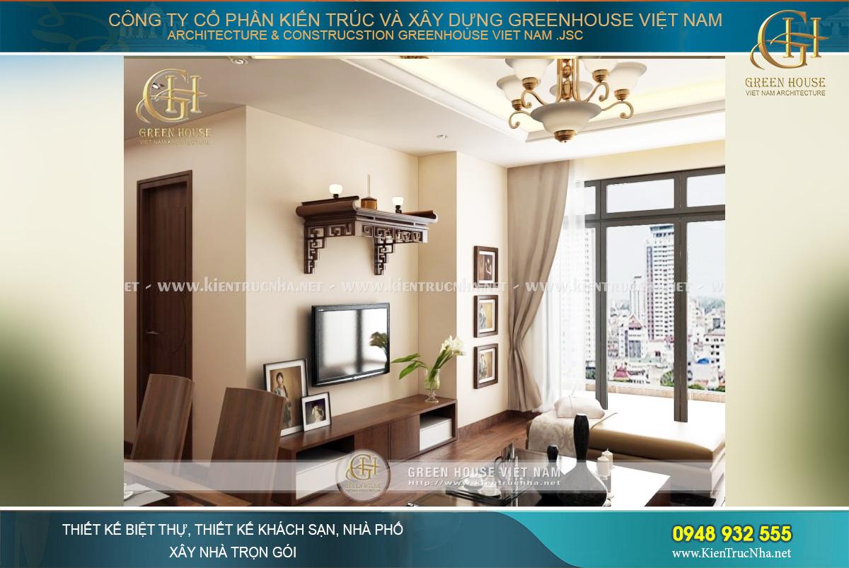 Thiết kế phòng khách của căn hộ chung cư với bức tường kính và ban công lớn