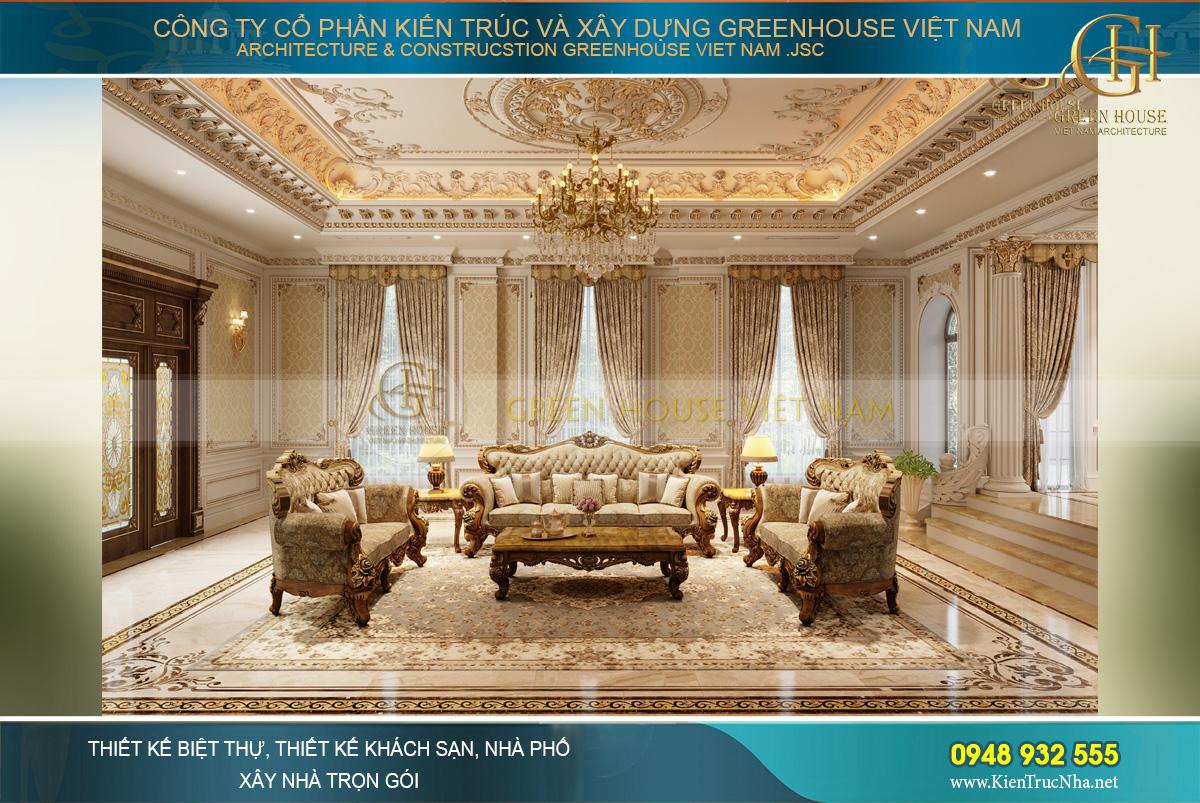 Thiết kế biệt thự tân cổ điển với đèn chùm đá hoa cương và sofa bọc da cao cấp