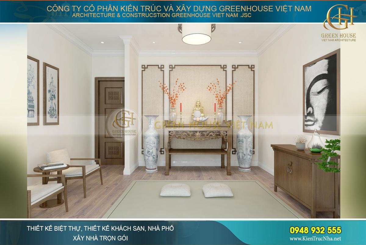 Thiết kế phòng thờ thanh nhã, lịch lãm và trang nghiêm