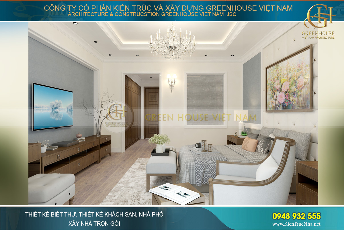 Phòng ngủ master của nhà ống hiện đại 4 tầng Vẻ đẹp lãng mạn, dịu dàng đậm chất thơ tại Thái Nguyên