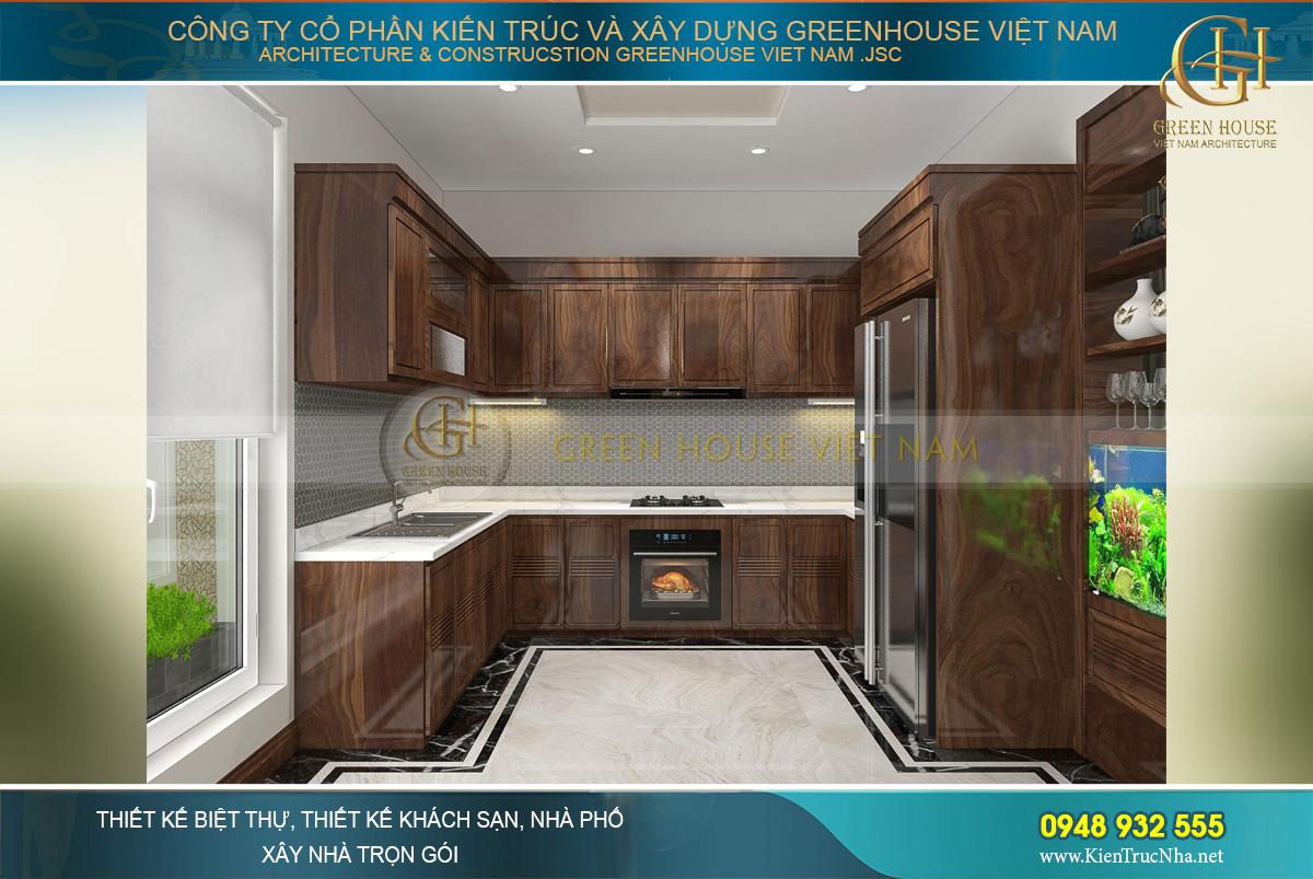 Tủ bếp kết hợp giữa chất liệu gỗ sơn vecni và đá granite