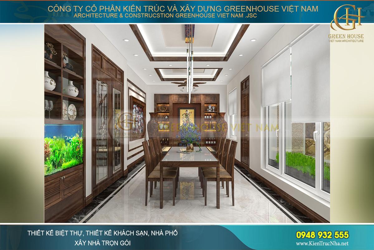 Kết cấu phòng bếp và phòng ăn theo chiều dọc
