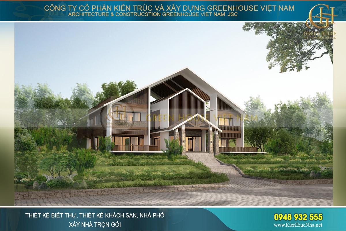 Biệt thự thiết kế theo lối biệt thự sân vườn 2 tầng trên diện tích đất gần 1000m2
