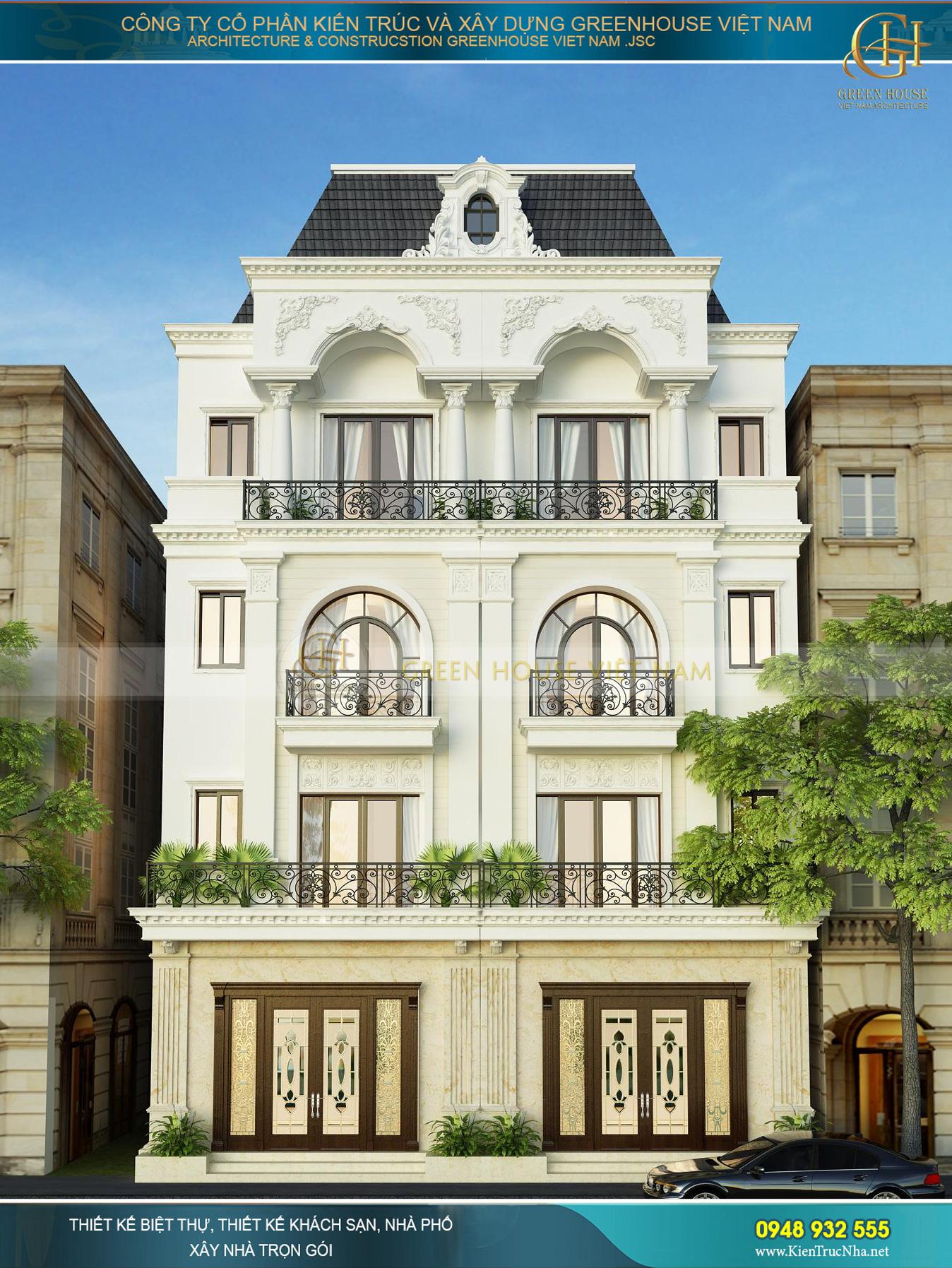 Phối cảnh mặt tiền của nhà phố song lập 4 tầng tân cổ điển tại Hải Phòng