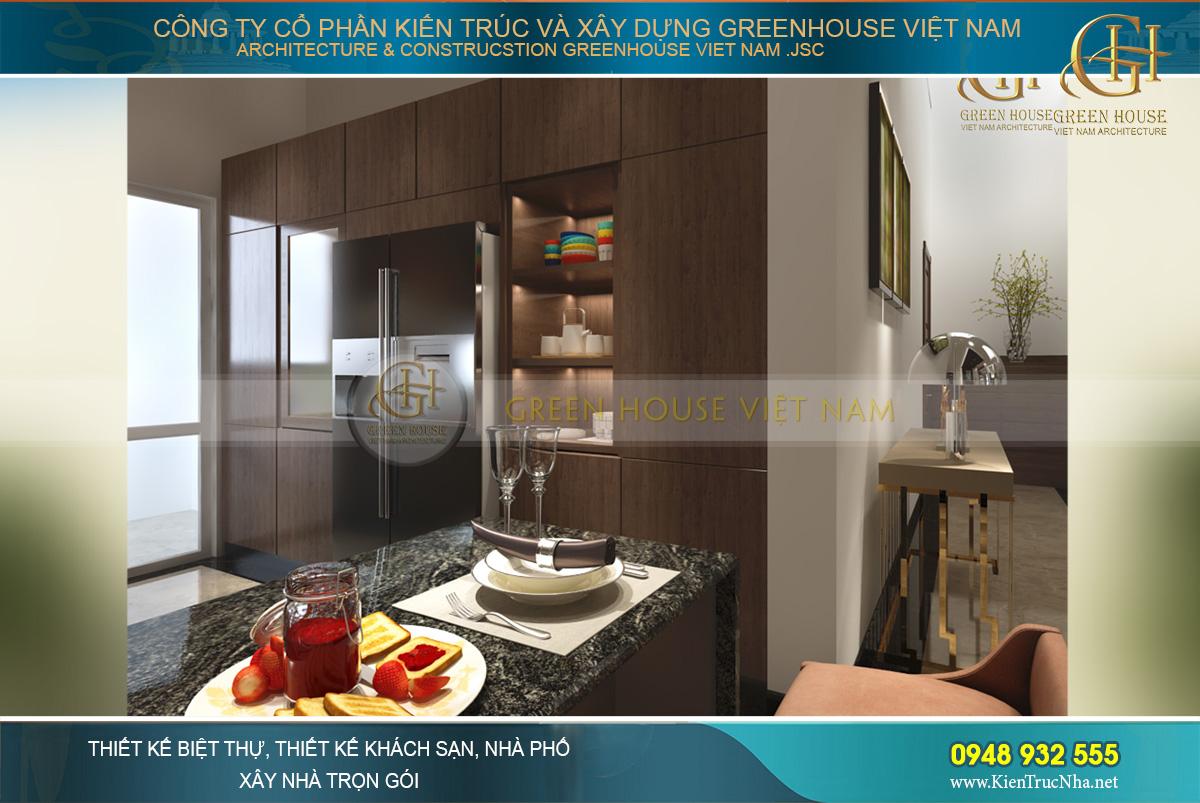 Phòng bếp được thiết kế với các tủ bếp âm tường hiện đại tối ưu