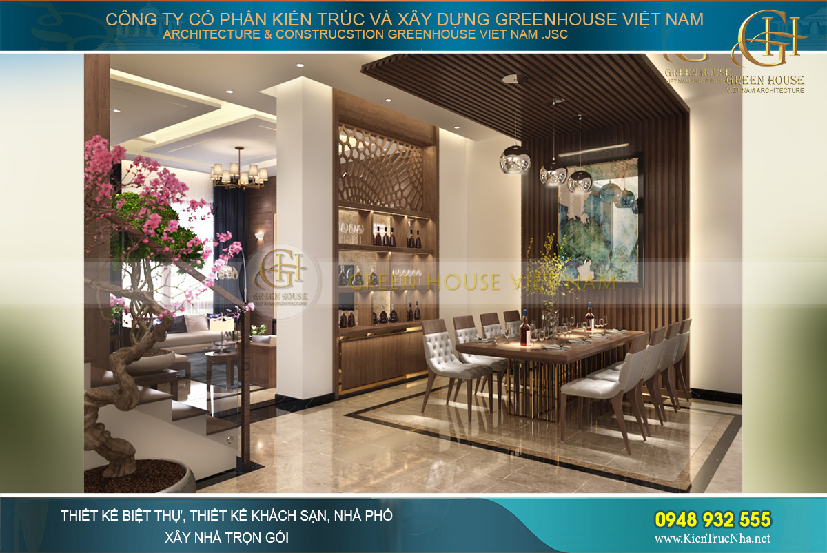 Thiết kế khu vực phòng ăn với kiến trúc tường và trần ốp gỗ khác biệt