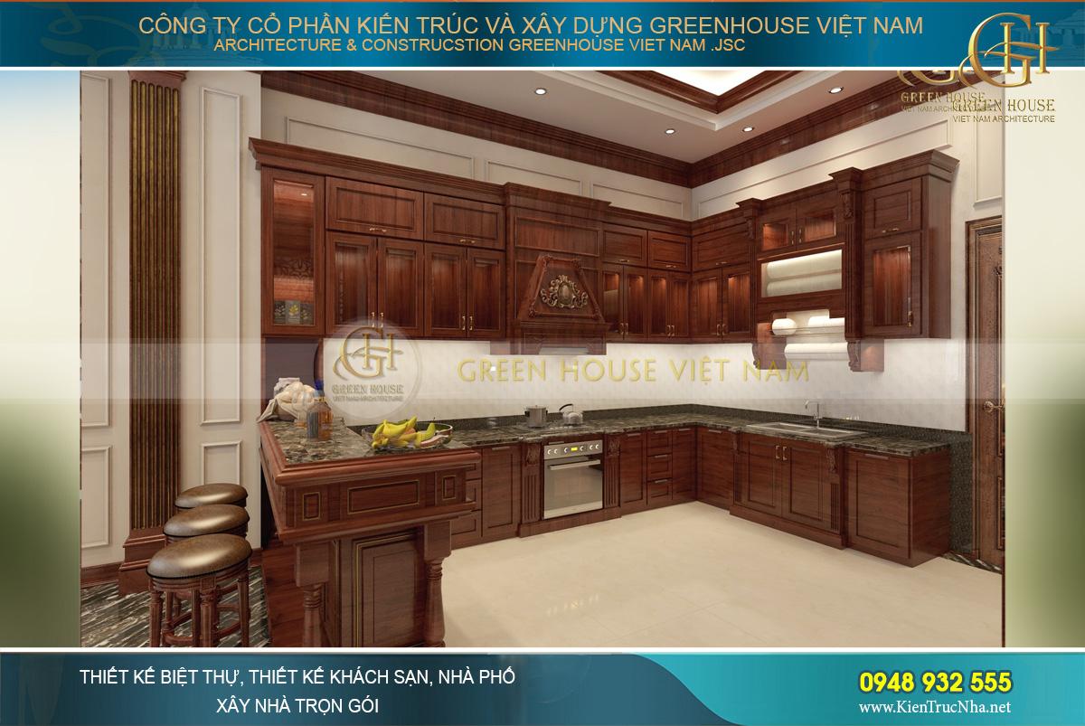 Thiết kế nội thất phòng bếp của biệt thự với nội thất gỗ và kiểu dáng đơn giản, tinh tế