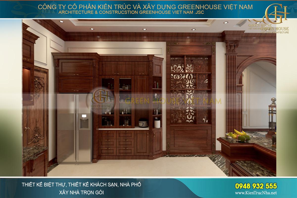 Màu gỗ nâu bóng mang đến vẻ đẹp đẳng cấp cho căn phòng bếp